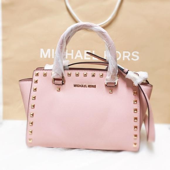 1ccf6206fb01 Michael kors medium selma stud satchel pink purse